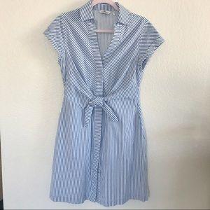 Vineyard Vine | Tie Front Seersucker Shirt Dress
